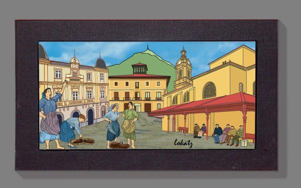 Cuadro de la Iglesia y ayuntamiento de Santurce